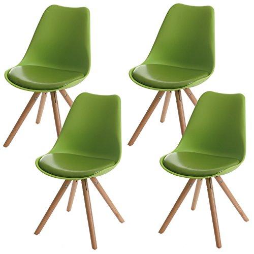 4x Esszimmerstuhl Malmö T501, Retro Design ~ grün, Sitzfläche Kunstleder grün, helle Beine