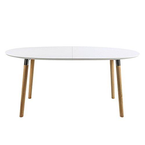 AC Design Furniture Esstisch oval aus Holz Tischplatte weiß Beine Eiche 270x100cm Pita