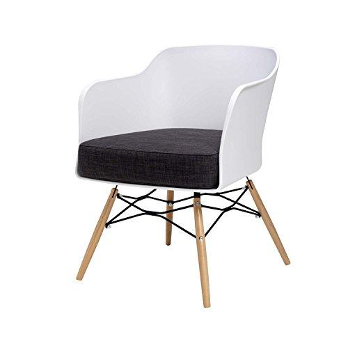 BUTIK Design Esszimmerstuhl Cooper, 6-er Set, 77 x 61 x 49 cm, dunkelgraues Sitzkissen aus hochwertiger Baumwolle, plastik weiß