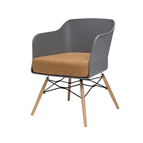 BUTIK Design Esszimmerstuhl Cooper in Grau - Maße 77x61x49 cm - braunes Sitzkissen aus hochwertiger Baumwolle (Grau/Braun)