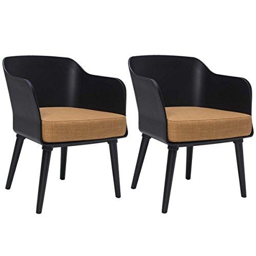 BUTIK Design Esszimmerstuhl Sax 2er Set - Maße 77x61x49 cm - Sitzkissen aus hochwertiger Baumwolle (schwarz/braun)