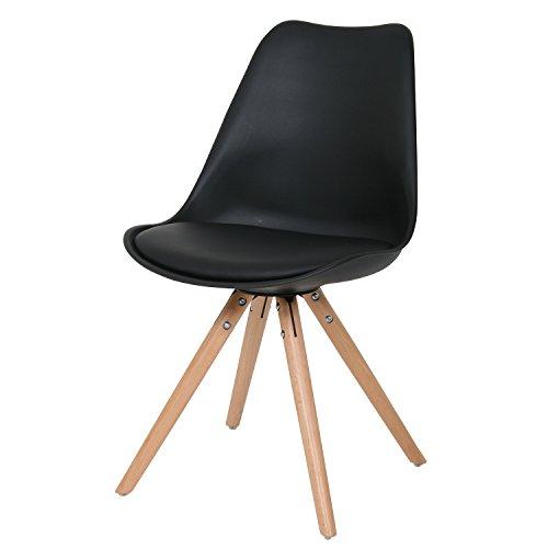 BUTIK Esszimmerstuhl Woody, 6-er Set, 83 x 48 x 39 cm, Lederimitat, schwarz / birkenholz