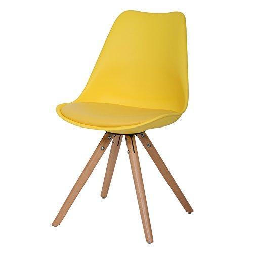 BUTIK FL20355-2 Esszimmerstuhl Woody 2-er Set, Höhe x Breite x Tiefe: 83 x 48 x 39 cm, gelb/holz