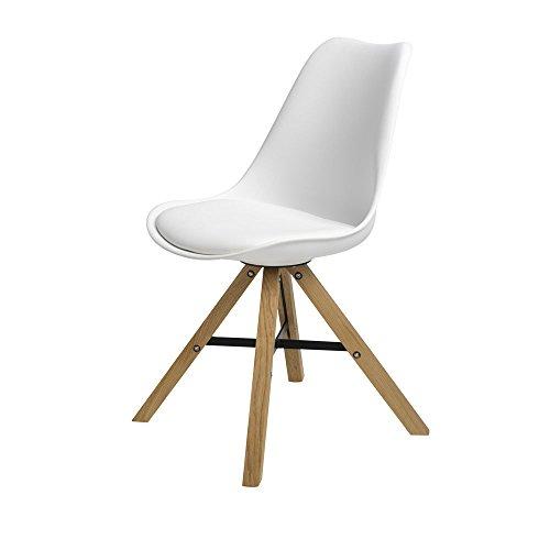 BUTIK FL20450-4 Moderner Design Esszimmerstuhl Consilium Trent Eichenholz, 4-er Set, 83 x 48 x 39 cm, weiß