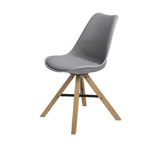BUTIK Moderner Esszimmerstuhl Consilium Trent - Maße 83x48x39 cm - Sitzkissen aus hochwertigem Kunstleder (Grau)