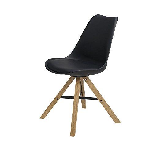 BUTIK Moderner Esszimmerstuhl Consilium Trent - Maße 83x48x39 cm - Sitzkissen aus hochwertigem Kunstleder (Schwarz)