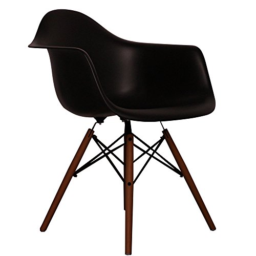Black Eames Style DAW chair with walnut legs