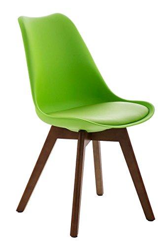 CLP Design Retro Stuhl BORNEO, Holzgestell, Sitz Kunststoff / Kunstleder, gepolstert grün, Holzgestell Farbe walnuss
