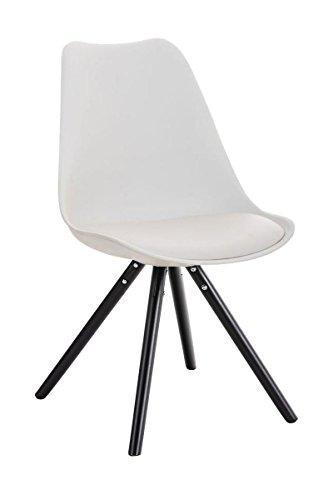 CLP Design Retro Stuhl PEGLEG, Schalenstuhl Sitzhöhe 46 cm, gepolstert, Sitz Kunststoff / Kunstleder weiß, Holzgestell schwarz