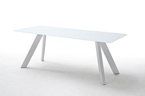 Esstisch Nebi 200 cm, Glastisch weiß