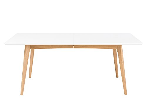 Esstisch mit weiß lackierter Tischplatte, Gestell in Eiche massiv - klar lackiert, Maße: B/H/T ca. 190/76/100 cm