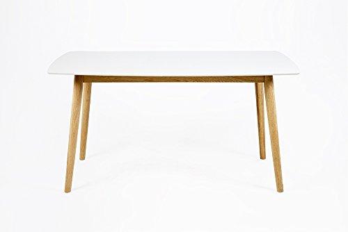 Esstisch mit weiß lackierter Tischplatte und Gestell aus Massivholz Eiche, Lack klar, Maße: B/H/T ca. 150/75,5/80 cm