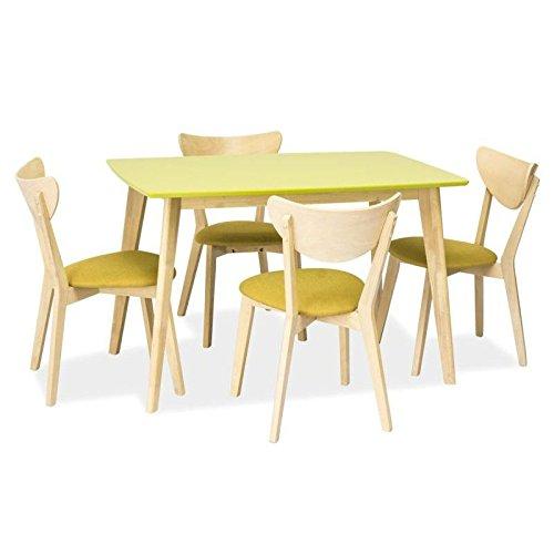 JUSThome Combo Esszimmertisch Küchentisch Esstisch Grün Eiche 75x75x120 cm