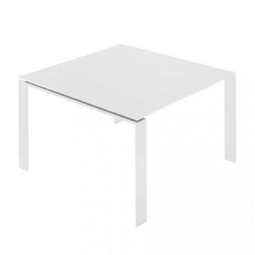 Kartell Four Tisch 128x128x72cm, weiß Laminat Gestell weiß Tischplatte weiß