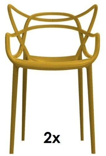 Kartell Masters 2 x Stapelstuehle senfgelb von Philippe Starck zum Set-Preis 5865 16