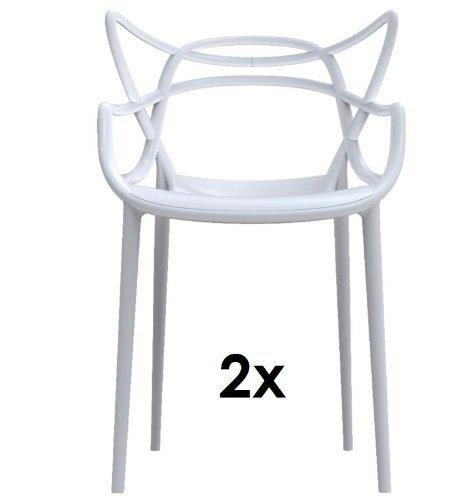 Kartell Masters 2 x Stapelstuehle weiss von Philippe Starck zum Set-Preis 5865 03