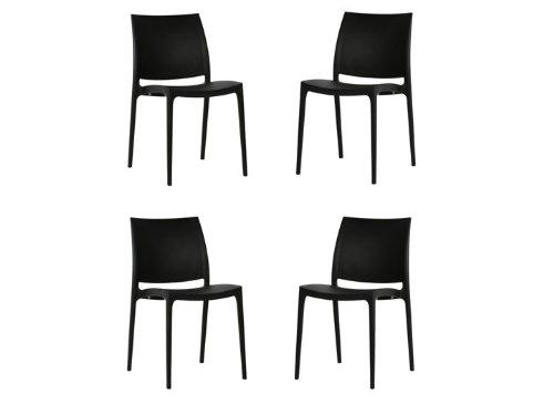 MAYA Stühle Esszimmer Stapelstuhl 4er Set Zuiver Schwarz