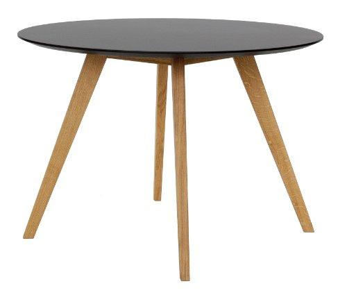 Tenzo 2181-024 Bess - Designer Esstisch rund, schwarz, Tischplatte MDF lackiert, matt, Untergestell Eiche massiv, Höhe: 75 cm, Durchmesser: 110 cm