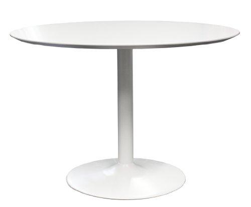Tenzo 3218-001 Tequila Designer Esstisch, MDF lackiert, matt, Untergestell Metall, Höhe: 74.5 cm, Durchmesser: 110 cm, weiß