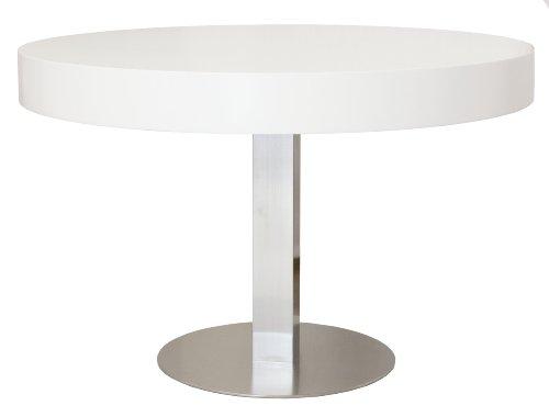 Tenzo 4820-001 Bloc - Designer Esstisch rund, Tischplatte 12 cm Wabe mit MDF-Beschichtung, Edelstahluntergestell, Höhe: 77 cm, o 120 cm, weiß / lackiert matt
