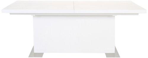 AC Design Furniture H000011171 Esstisch Jonas, inklusive 1 Einlegeplatte innenliegend, ca. 130(180) x 75 x 90 cm, weiß hochglanz