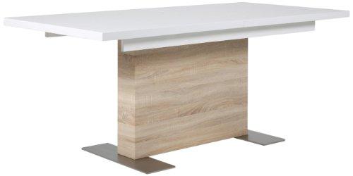 AC Design Furniture H000012555 Esstisch Jonas, Sonoma Eiche Nachbildung, inklusive 1 Einlegeplatte innenliegend, ca. 160(210) x 75 x 90 cm, weiß hochglanz