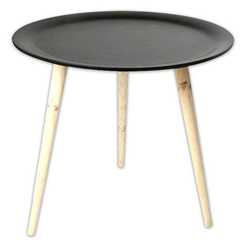 Moderner Tisch im Retro Stil aus Kiefernholz Ø 38 cm Ø 48 cm in schwarz + weiss (schwarz, Ø 48)
