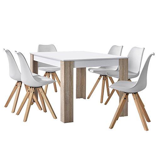 [en.casa] Esstisch Eiche weiß mit 6 Stühlen weiß 140x90cm Esszimmer Essgruppe Küche Set