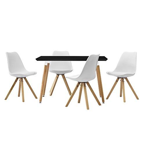 [en.casa] Esstisch mit 4 Stühlen weiß gepolstert 120x80cm Kunstleder Esszimmer Essgruppe Küche