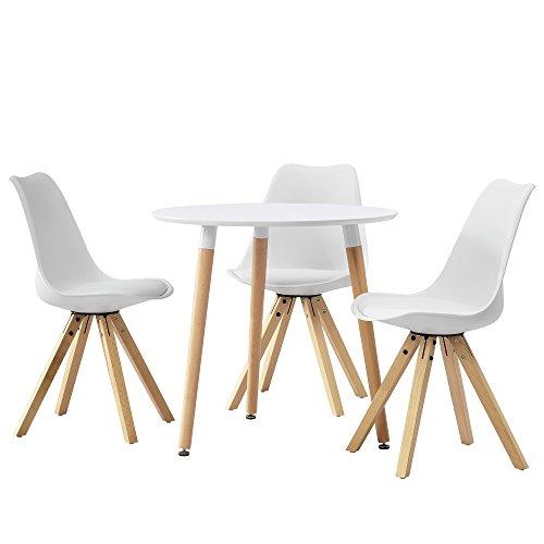 [en.casa] Esstisch rund weiß [Ø80cm] mit 3 Stühlen weiß gepolstert Esszimmer Essgruppe Küche