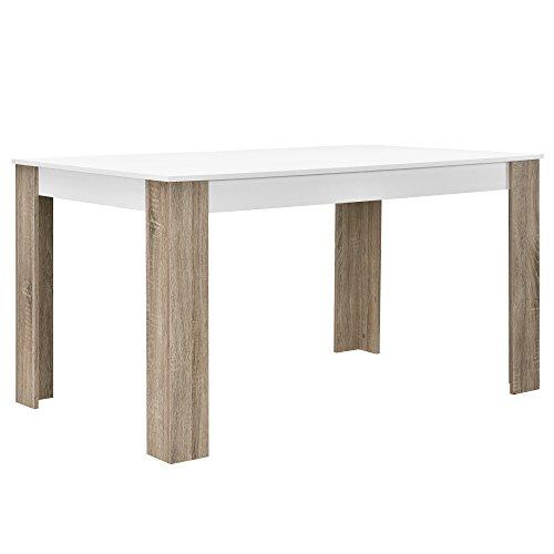 [en.casa] Esstisch weiß Eiche-Optik 140x90 Tisch Esszimmer Küchentisch rechteckig Retro