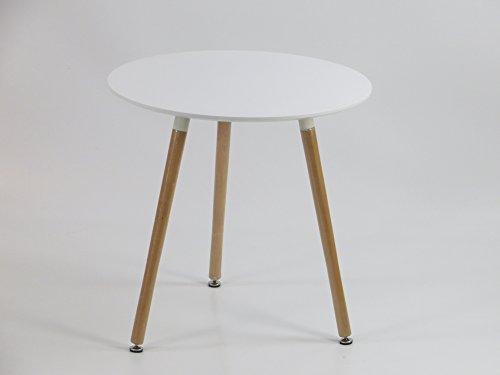 Inspiration Retro Tisch MDF rund 70 cm Durchmesser in Weiß