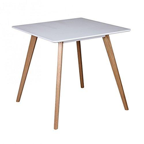 Retro Esstisch Weiß Matt Lackiert Holz 80 x 80 x 75 cm | MDF Esszimmertisch mit Holzfüßen | Küchentisch Skandinavisch