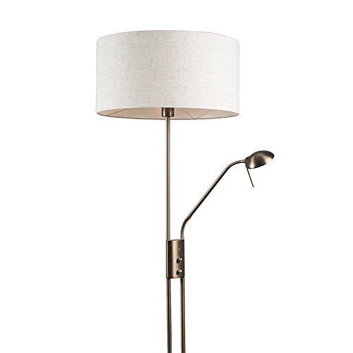 QAZQA Modern Stehleuchte / Stehlampe / Standleuchte / Lampe / Leuchte Luxor Bronze mit 50 cm Schirm Pfeffer Metall / Textil / Rund E27 Max. 1 x 40 Watt Dimmer / Dimmbar