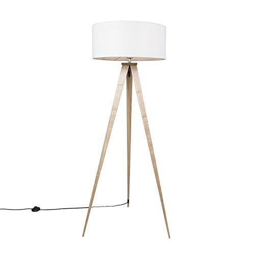 QAZQA Modern Stehleuchte / Stehlampe / Standleuchte / Lampe / Leuchte Tripe Holz mit weißem Lampenschirm Metall / Textil / Länglich LED geeignet E27 Max. 1 x 60 Watt
