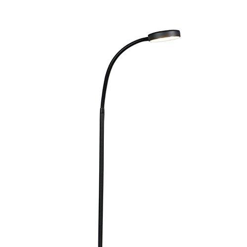 QAZQA Modern Stehleuchte mit Leseleuchte / Stehlampe / Standleuchte / Lampe / Leuchte Trax schwarz Glas / Metall / Länglich inklusive LED (nicht austauschbare) LED Max. 1 x 4.5 Watt