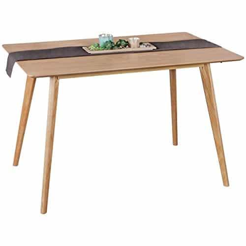 FineBuy Esszimmertisch 120 x 76 x 80 cm aus MDF Holz | Esstisch mit quadratischer Tischplatte | Robuster Küchentisch im Retro Stil | Holz-Tisch in skandinavischem Design | Tisch in Eichenfurnier