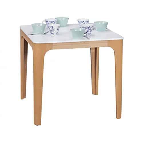 FineBuy Esszimmertisch 80 x 76 x 80 cm aus MDF Holz | Esstisch mit Tischplatte in weiß | Robuster Küchen-Tisch im Retro Stil | Holz-Tisch in skandinavischem Design | Untergestell in Eschefurnier