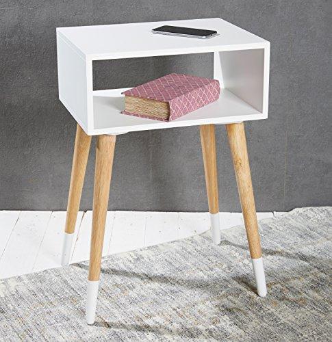 Beistelltisch Nachttisch Telefontisch Holz weiß natur im skandinavischen Retro-Stil - 40 x 30 x 60 cm Konsolentisch mit Ablage