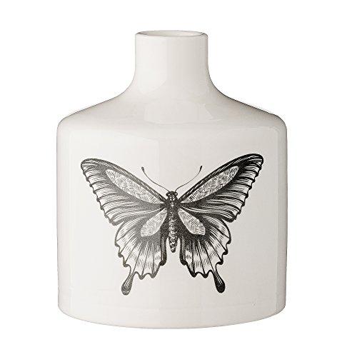 Bloomingville Vase Schmetterling (Schwarz-Weiß, Ø: 12cm x H: 15 cm)