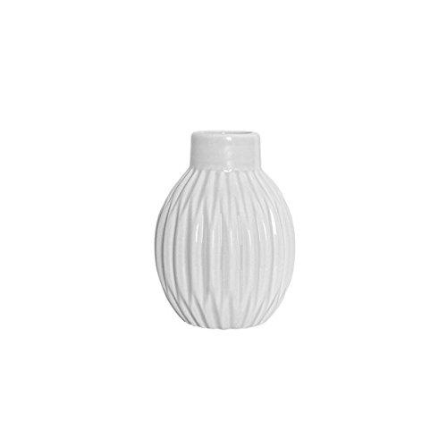 Bloomingville Vase in Faltenoptik klein matt weiß