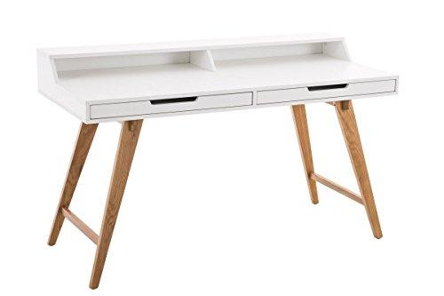 CLP Schreibtisch EATON aus MDF & Eichenholz, 2 Schubladen, große Arbeitsfläche 140 x 60 cm