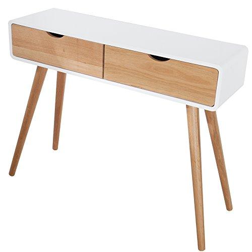 Design Retro Konsole SCANDINAVIA weiß Eiche 100cm mit 2 Schubladen Konsolentisch Tisch Beistelltisch