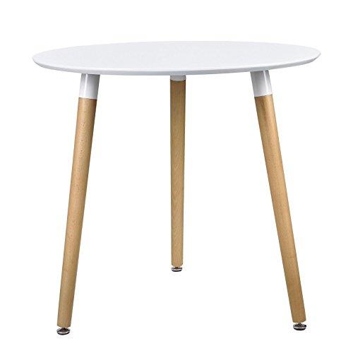 Esstisch Esszimmertisch Retro Küchentisch Design Holz Tisch Bürotisch Couchtisch Konferenztisch Rund Weiss