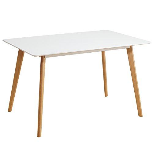Esstisch Weiß 120 x 80 cm Holzbeine Esszimmertisch Tisch Retro Retrolook Skandinavisch