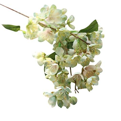 Hunpta Kunstblumen künstliche Blatt Kirschblüten Blumen Hochzeit Bouquet Party Dekoration (Mint Green)