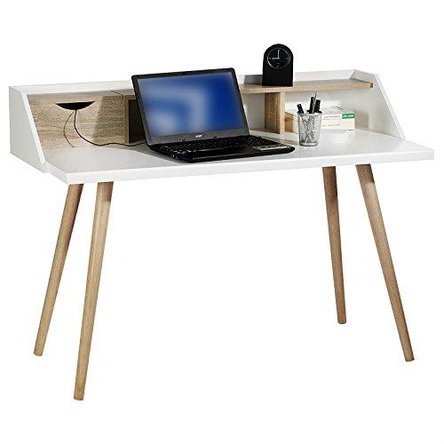 Konsolentisch Konsole Sekretär Schreibtisch JOAN Sonoma Eiche weiß 1 Schublade für Kabel