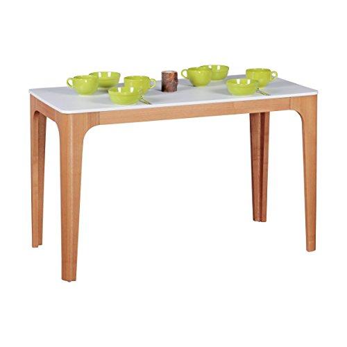 WOHNLING Esszimmertisch 120 x 76 x 60 cm aus MDF Holz | Esstisch mit Tischplatte in weiß | Robuster Küchen-Tisch im Retro Stil | Holz-Tisch in skandinavischem Design | Untergestell in Eschefurnier