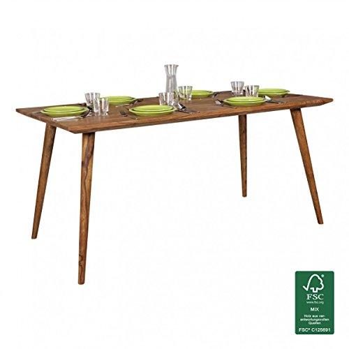 WOHNLING Esszimmertisch REPA 160 x 80 x 76 cm Sheesham rustikal Massiv-Holz | Design Landhaus Esstisch | Tisch für Esszimmer groß | 6 - 8 Personen