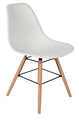 1 x Design Klassiker Stuhl Retro 50er Jahre Barstuhl Küchenstuhl Esszimmer Wohnzimmer Sitz in Weiß Weiss mit Holz